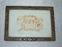 Vintage Sepia Sketch of Subway in City Print in Antique Wood Frame Under Glass –