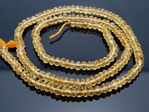 """Natural Citrine Yellow Faceted Rondelle Gemstone  Beads 14"""" Strand"""