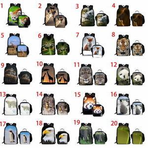 Penguin Panda Fox Girls Boys Backpack School Lunch Bag Set Teens Laptop Rucksack