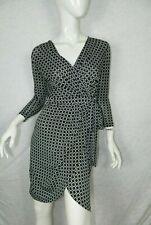 JAYNE CLAY Dress Black White Geometric Faux Wrap Dress Size X-Small