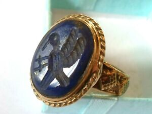 EXPERTLY POLISHED,POST/LATE MEDIEVAL BRONZE RING W/EAGLE INTAGLIO STONE.WEARABLE