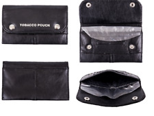 Tobacco Pouch Soft Black 100 % NAPPA Leather Lined Rolling Paper  SMOKING CASE