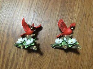 2 Seymour Mann Vintage Porcelain Bird Figurines Red Cardinals by Bernini