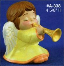 "Ceramic Bisque Angel with Trumpet 4 5/8"" from Alberta Mold 338 Ready to Paint"