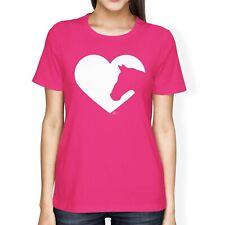 1tee Damen Loose Fit Pferd Silhouette Liebe Herz T-Shirt