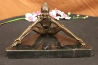 Mother`s Day Gift Modern Art Female Yoga Bronze Marble Statue Sculpture Decor