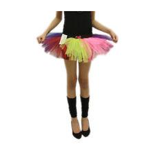 Girls Crazy Chick 3 Layers Rainbow Clown School Party Fancy TuTu Skirt