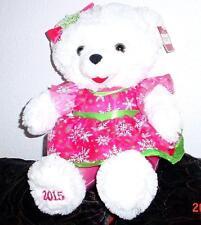 "2015 WalMART CHRISTMAS Snowflake TEDDY BEAR White Girl 20"" Pink/green Outfit NWT"