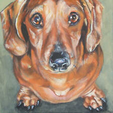 Dachshund CANVAS art PRINT painting dog LSHEP  8x8