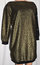 SONIA RYKIEL GOLD/BLACK SEQUINNED  LONG SLEEVES DRESS SIZE L