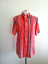 Bold Hues! Basler size 38 red polyester striped short sleeve shirt