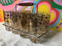 MCM Fred Press Gold White Dogwood Floral Drinking Glass Set Teak Handle Carrier