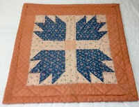 Patchwork Quilt Table Topper Or Wall Hanging, Bears Paw, Calicos, Blue & Pink