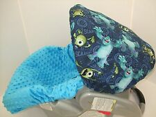 Monsters Inc. print & teal turquoise minky infant slip cover/Graco&custom size