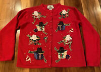 Vtg Tiara Ugly Christmas Cardigan Sweater Red Scottie Dogs Wrapped Gifts Size L