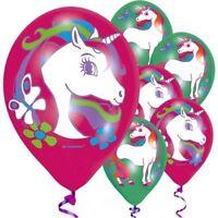 "6 x 11"" UNICORN Latex Air or Helium BALLOONS,4 Colour Party Happy Birthday"