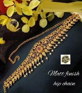 Indian Bridal Kamarbandh Waist Chain Matte Gold tone jewelry Vaddanam Kamarpatta