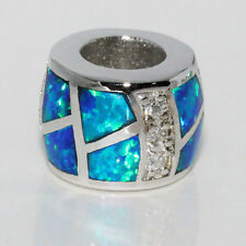 Silver Opal Bead European Charm Pendant CZ 925 Sterling Lab Created Blue w Fire