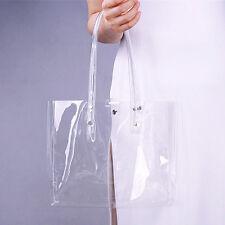 Clear Vinyl Plastic Bag Tote PVC Medium Shopper Shoulder Transparent See Through