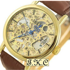 Gold pl Heirloom Mechanical Windup Skeleton Steampunk Brown Leather Unisex Watch