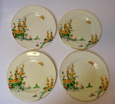 "Vintage Crown Staffordshire Yellow Hollyhocks F12914 4 Bread Plates 7"" diameter"