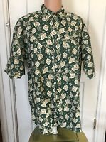 Van Heusen Over Easy Shirt Mens Size L Green Linen Cotton Short Sleeve Large