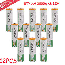 12 pcs AA LR06 3000mAh 1.2V NI-MH rechargeable battery CELL/RC 2A BTY Green VIP