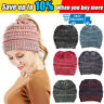 Women's Ponytail Beanie Ribbed Winter Messy Bun Cable Warm Knitted Hat Cap