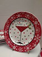 222 FIFTH Set of 4 Christmas Plates Let's Get Toasty Appetizer Dessert