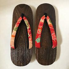 "Japanese Women's Wooden Geta Sandals 10.75"" Geisha Yukata Kimono Shoes Floral"