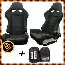 COPPIA BB7 in vetroresina reclinabili racing secchio sedili Sportivi Nero + Sposa Zaino