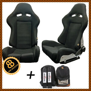 Pair BB7 Fibreglass Reclining Racing Bucket Sports Seats Black + Bride Rucksack