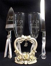 Wedding Cake Topper 25th Anniversary toasting Glasses Knife server 25 LOT silver
