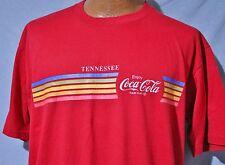 Vintage 80s COCA COLA TENNESSEE Rainbow Stripe 50/50 T-SHIRT XL Coke Advertising
