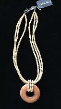 Tan wood seed bead necklace w pendant Cookie Lee NWT