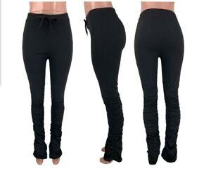 USA Women High Waist Slit Drawstring Leggings Hip Hop Trousers  Sweatpants #PT