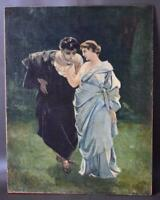 Antique French Romantic Oil Painting of a Couple In Antique Style Dress