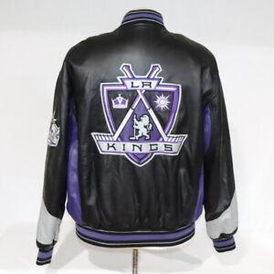 Vintage G-III Carl Banks NHL Los Angeles Kings Leather Embroider Jacket Black M