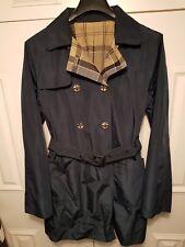 Womens Barbour Cedar Trench Coat Jacket Reversible Navy Blue Tartan UK14