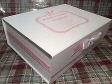 Extra Large Personalised New Baby Girl Keepsake Memory Box Christening Gift