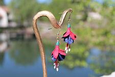 fuschia flower earrings,handmade polymer clay earrings, light weight,lifelike