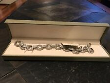 "QVC Judith Ripka Sterling Silver 8"" Link Bracelet with Citrine"