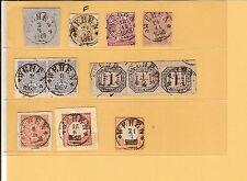 Th&T / WEHEN 9 feinst-Kabinett-Stücke, dabei je K1 a. Blanko-Briefstück 2.4.1867