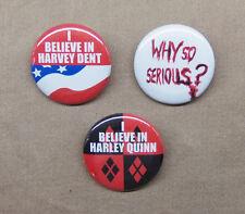 "Batman Harvey Dent, Harley Quinn, Why So Serious? 3 Button Set 1.25"" Repro Joker"
