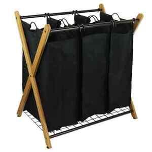 X-Frame Bamboo 3-Bag Laundry Sorter Portable Brown