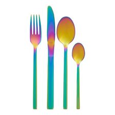 32 Piece Aurora Cutlery Set Multi-Coloured Stainless Steel Brand New