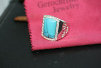 Turquoise 925 Sterling Silver Men's Costume Jewelry CZ Ornate Shiny Ring Sz 9.75