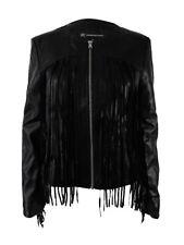 INC International Concepts Women's Leather-Fringe Jacket (XS, Deep Black)