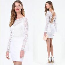 BEBE WHITE BACK LACE UP LONG SLEEVE DRESS NEW NWT $119 XSMALL XS