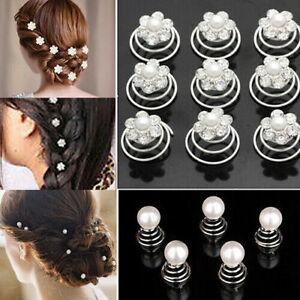 24pcs Wedding Bridal Silver Crystal Flower Hair Twists Swirls Pins Spirals Pearl